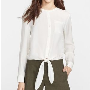 Theory - 'Kevin' Tie Front Silk Blouse